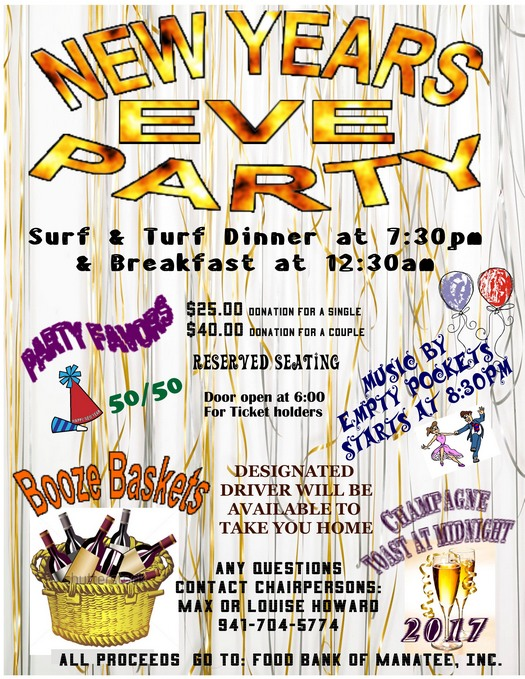 New Years Eve Party Reserved Seating Saturday December 31, 2016