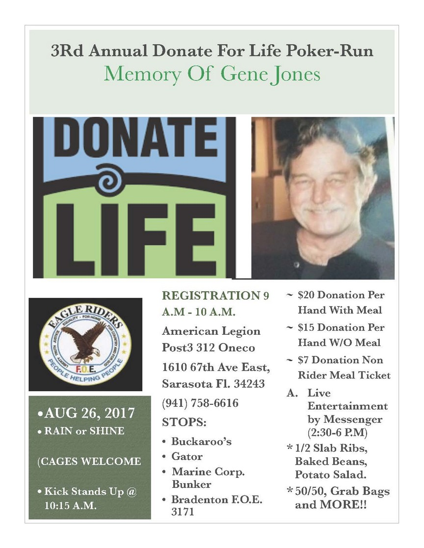 3rd Annual Donate for Life Poker Run