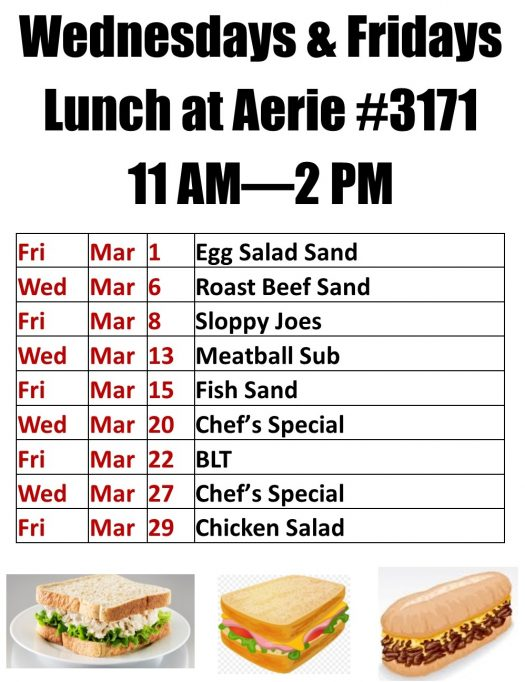 March 2019 Lunches