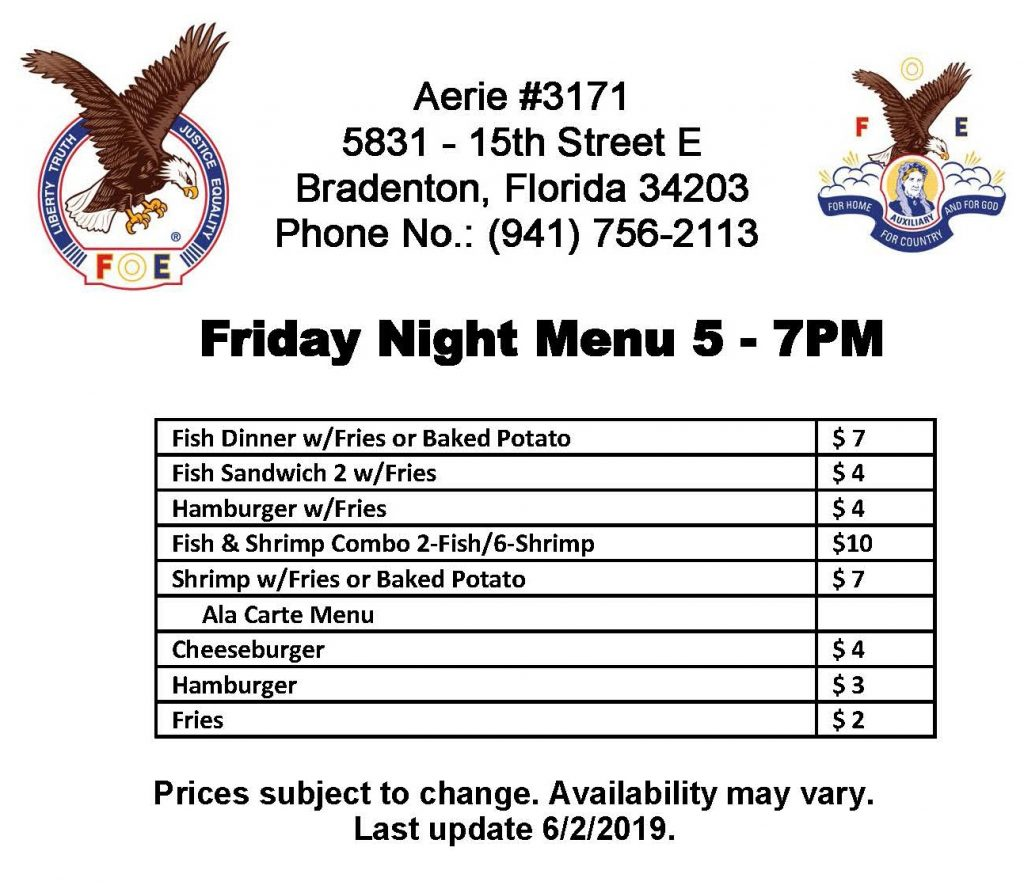 Friday Night Menu at Aerie #3171