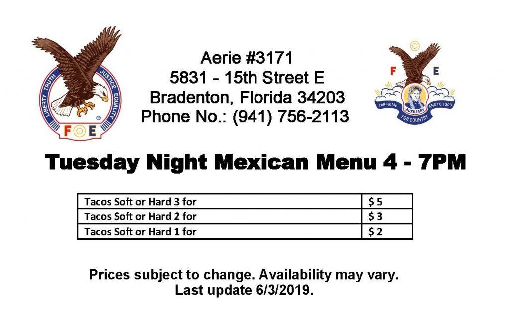 Tuesday Menu at Aerie #3171