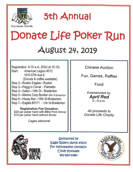 Donate Life Poker Run August 24, 2019