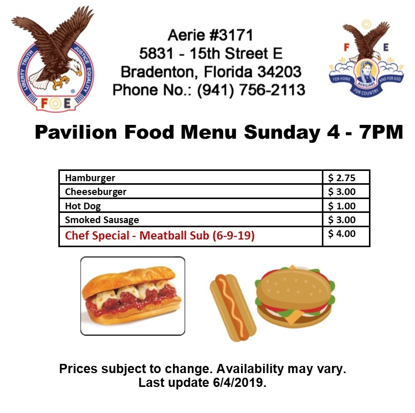 Sunday Pavilion Menu for June 9 2019