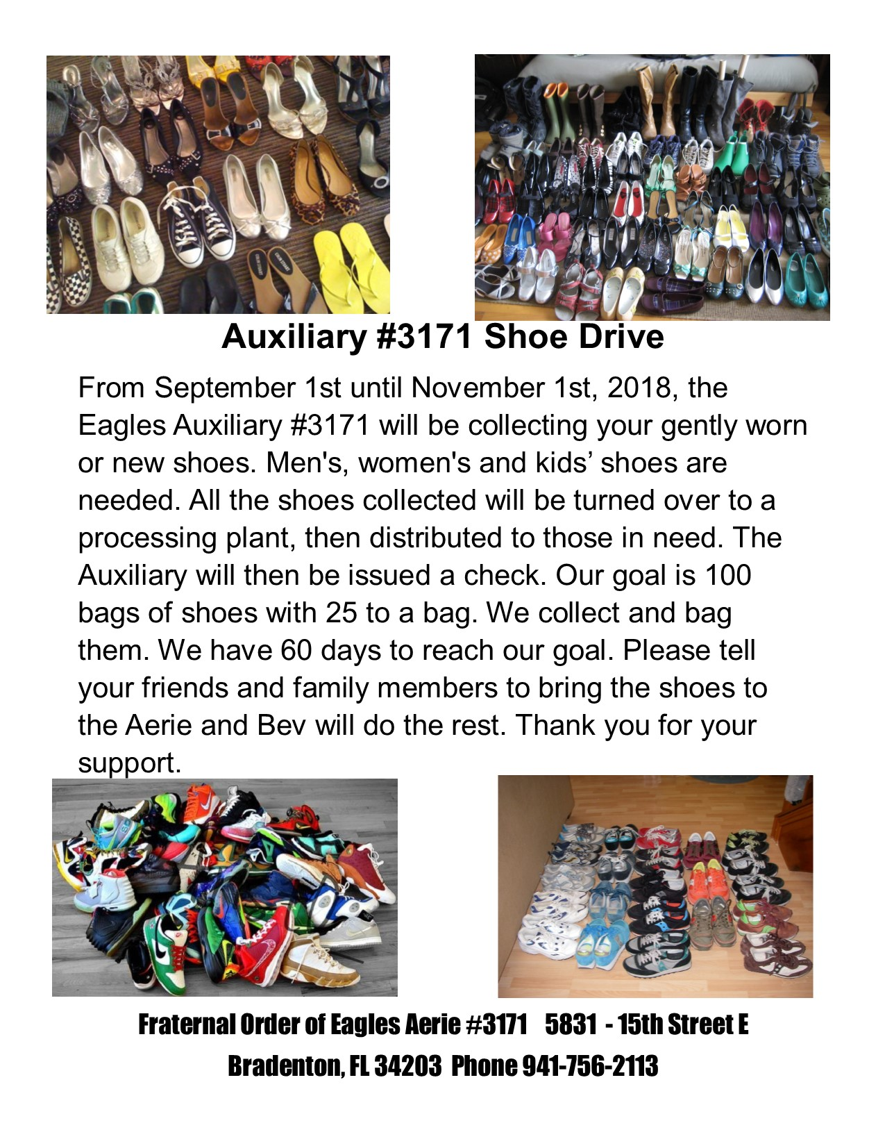 Auxiliary Shoe Drive 2018