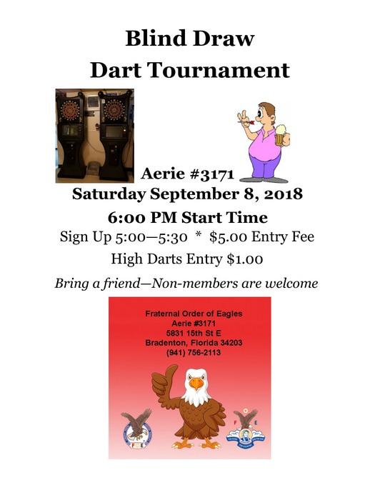 Blind Draw Dart Tournament September 2018