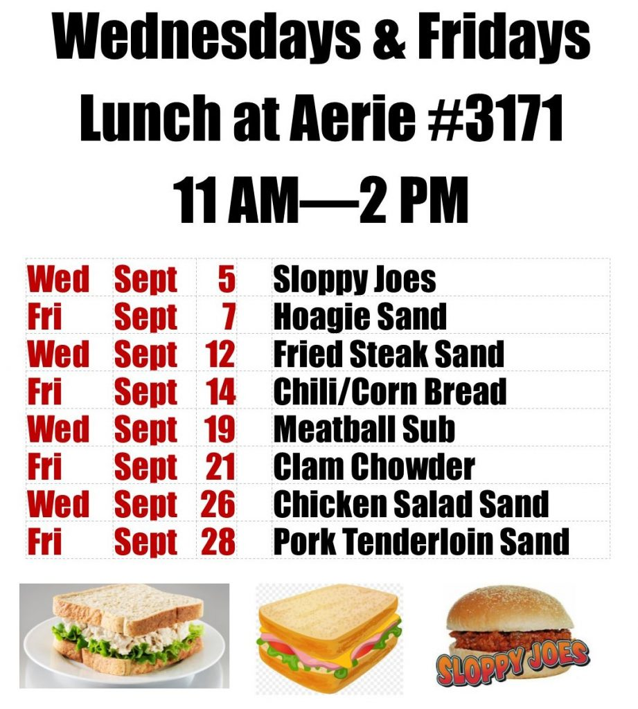 Wednesday & Friday Aerie 3171 Lunches Sept 2018