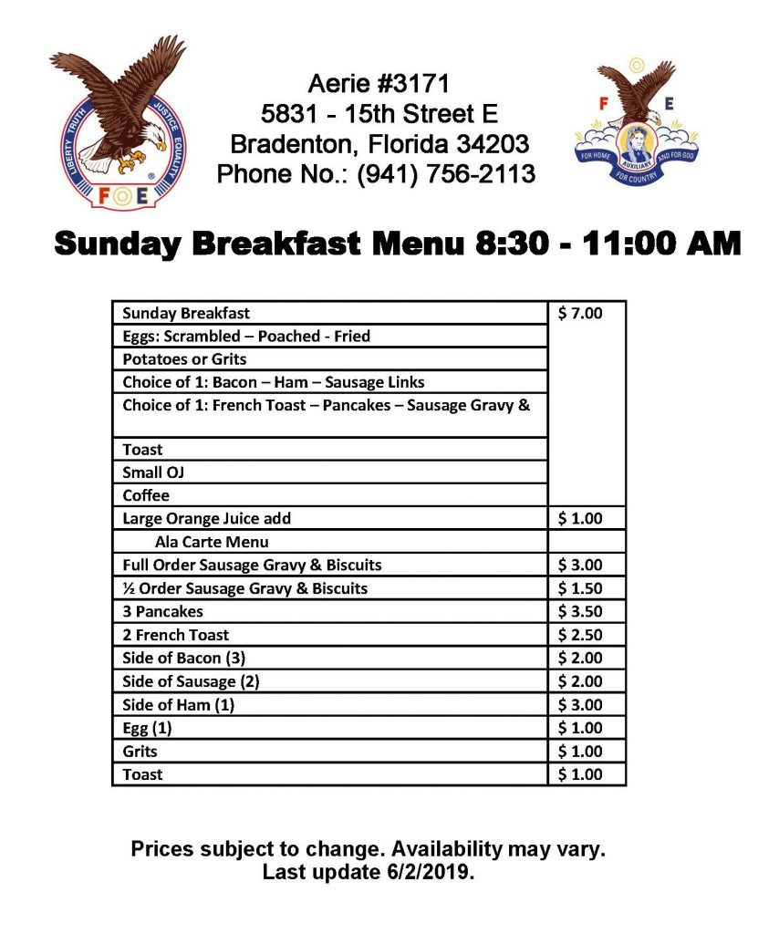 Sunday Breakfast Menu at Aerie #3171