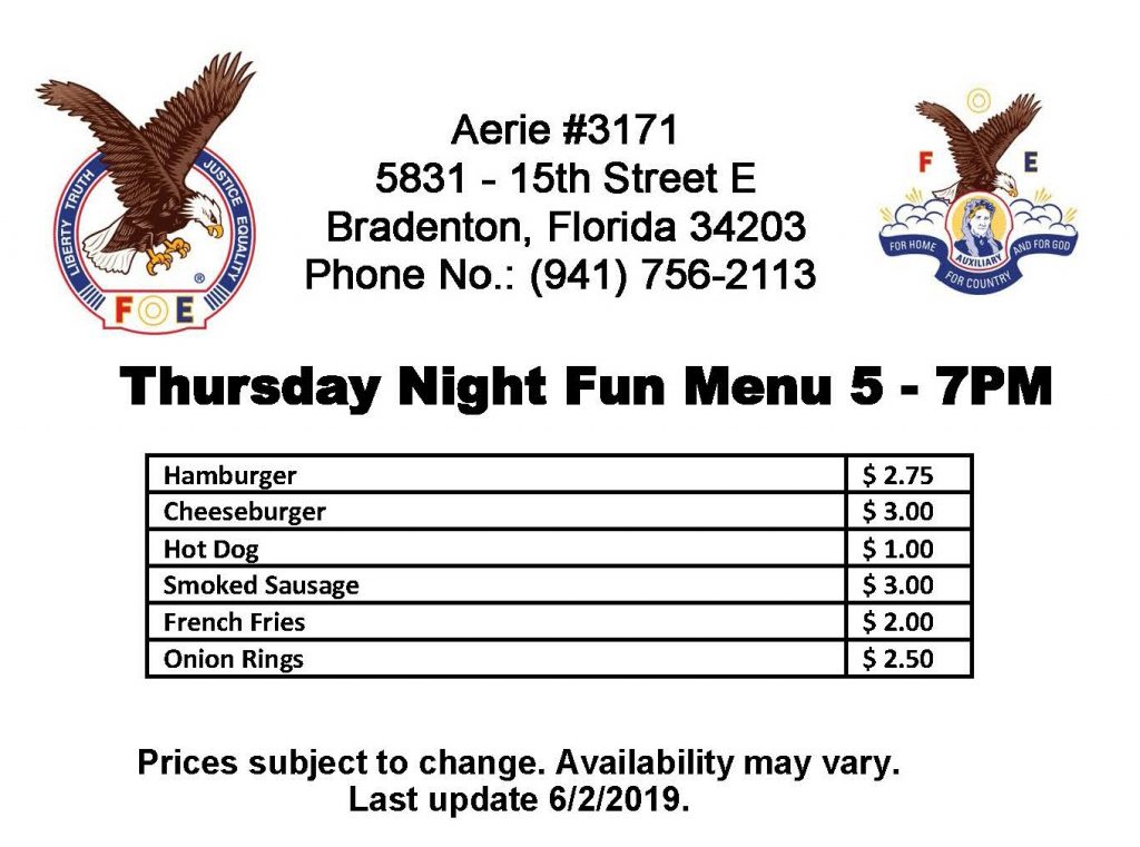 Thursday Night Menu at Aerie #3171