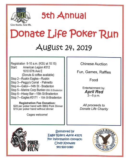 Donate Life Poker Run August 24, 2019