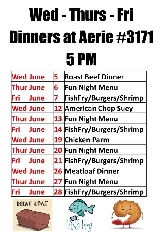 Current Dinners at Aerie #3171 for June 2019