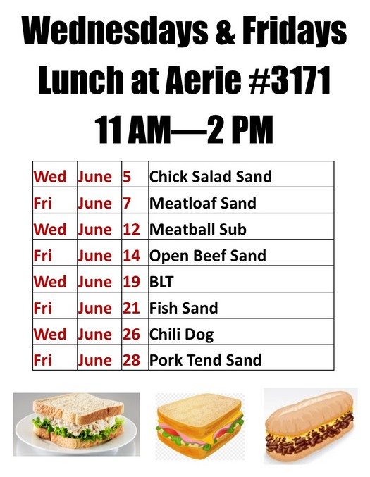 Current Lunches at Aerie #3171 for June 2019